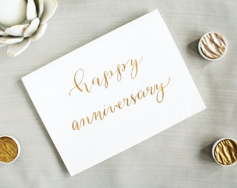 Wedding Anniversary Card - Happy Anniversary - Handmade Anniversary - Marriage Anniversary - Card for Wife - Card for Husband - Gold