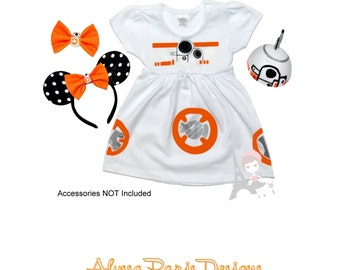 BB8 Inspired White Dress- Star Wars BB-8 Force Awakens Baby Dress