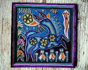 Peyote Deer Patch, Handmade Embroidery, Peyote Huichol Art, Peyote Embroidery, Hirsch Peyote Aufnäher, Huichol Kunst, HANDMADE WITH LOVE