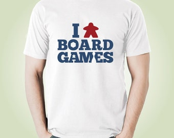 I (Meeple) Board Games T-shirt | White Meeple Tshirts for Board Game Geeks and Tabletop Gamers | I Love Board Games Tee