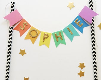 Bunting Cake Topper - Rainbow Gold Glitter Personalised