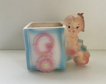 Vintage 50s Rubens Baby Girl Riding Tricycle Planter