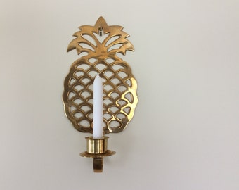Large Brass Pineapple Wall Sconce, Pineapple Candleholder