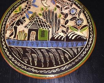 8.5 inch diameter Vintage Mexican Tonala Jalisco Folk Art Dish / Wall Plaque in Petatillo Style Signed
