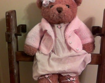 Shabby Teddy Bear in Vintage Baby Dress