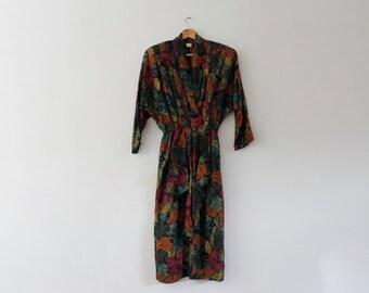 Vintage 1980s Dress | Floral Dress | Batwing Vintage Dress