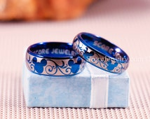 Couple Set 2 Rings Blue Tungsten Bands with Domed Edge Mickey Mouse Design Pattern Rings - 8mm & 6mm Tungsten Rings