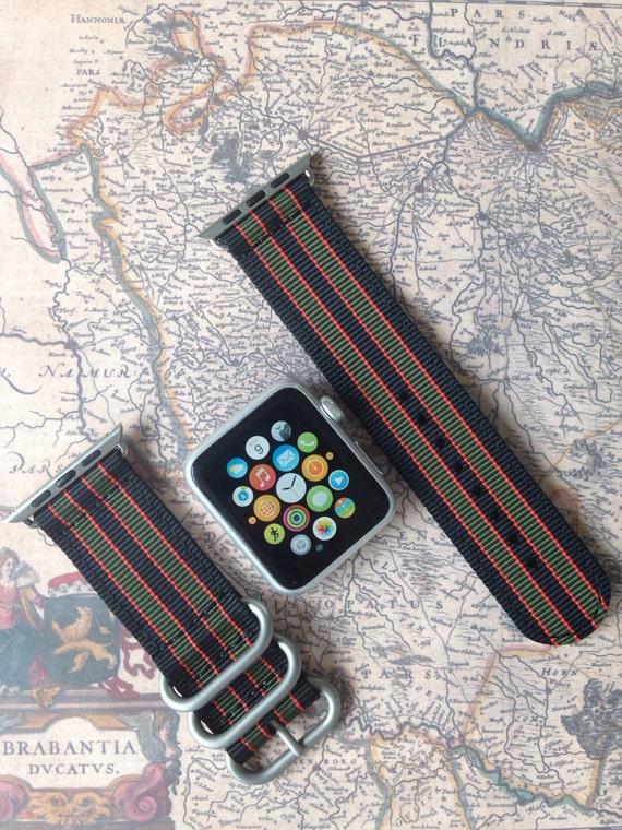 Apple watch original, series 1, series 2 band: Zulu strap (silver rings) 2-piece (James Bond!) 42mm, Free Shipping Worldwide!