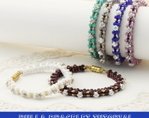 Pattern rulla beads bracelet with rhinestones and rocailles - step by step picture and beading instruction
