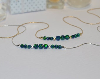 OPAL NECKLACE // Green Blue Opal Ball Necklace - Opal Charm Necklace - Opal Bead Necklace - Opal Dot Necklace - Everyday Opal Necklace
