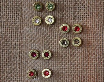 Handmade 380 Caliber Bullet Post Earrings with Swarovski Crystals for the Country Hunting Girl, Bullet Earrings