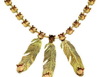 Rivoli 29ss/ 6 mm necklace with soldered feathers