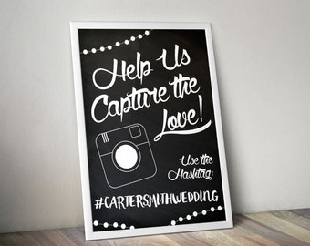 Instagram Hash tag chalkboard personalized wedding engagement sign printable