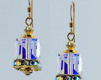 Crystal and Gold Cube Earrings - E1708 - Free Shipping