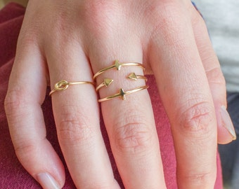 Open triangle ring - dainty open ring - gold triangle ring -open stacking ring - tiny gold ring - adjustable open ring - gold stacking ring