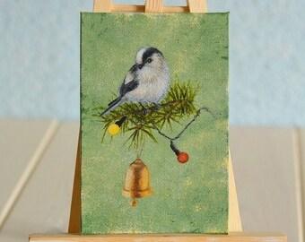 Miniature oil painting Bird