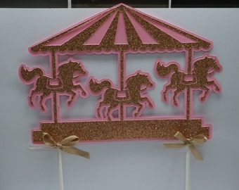 Carousel Cake Topper, Cake, Topper, Baby Shower, Birthday, Wedding, Party, Pink, Gold, Glitter