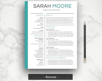 Professional Resume | Etsy  Simple Resume Cover Letter