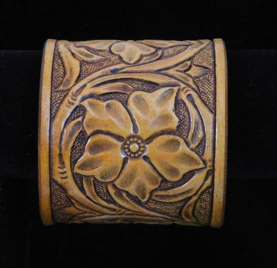 Sheridan style cuff bracelet hand tooled and carved