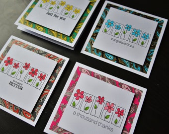 Set of 4 handmade cards for any occasion