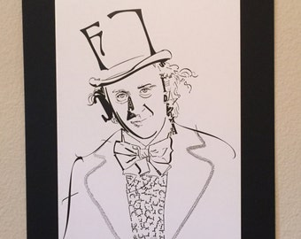 "Willy Wonka Typography Portrait Print, 15""x20"""