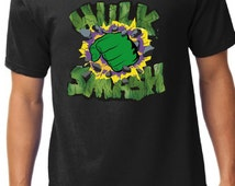 Incredible Hulk logo Men's V Neck Shirt, Custom Superheros Men's Tee