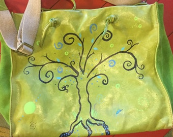 Tree of Life Hand-Painted Leather Satchel