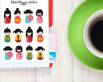 Japanese Kokeshi Dolls Planner Stickers (S-042)