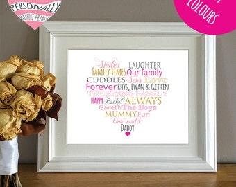 Personalised heart print - Christmas gift - Birthday - Customised print - DIY gift - Mum - Mummy - Kitchen print