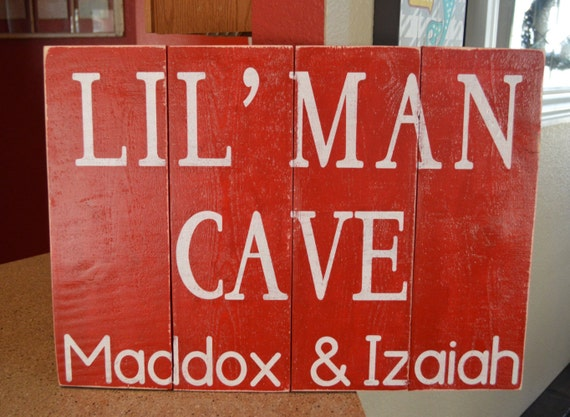 Personalized Man Cave Signs Etsy : Lil man cave personalized kids room sign by