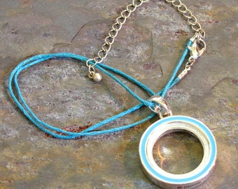 Aqua Blue Circle Necklace ~ Circle of Life Pendant ~ Karma Necklace ~ Eternity Circle Necklace: 16 - 19 inches