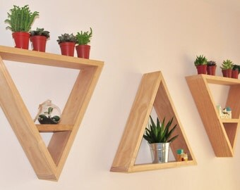 Geometric triangle wall art shelves. Solid Ash hardwood. Set of three.
