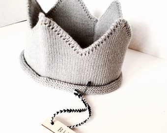 Modern Grey Knit Baby Crown Headband
