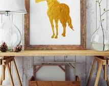 Gold Horse - Animal Wall Art Print - Room Decoration - Horse Illustration - Horse Poster