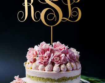 Gold Cake Topper, Gold Monogram Cake Toppers, Personalized Monogram Cake Topper, Custom Initials A2011