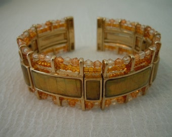 Vintage Monet Bracelet ~ Bangle ~ Monet ~ Beaded ~ Flexible ~ Jewelry ~ Gift ~ Womens ~ Bracelet
