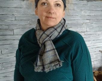 Irish tweed scarf - 100% wool - gray/blue/black check - ready for shipping - HANDMADE IN IRELAND