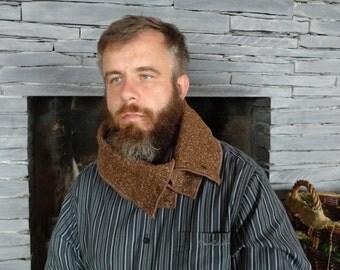 Irish tweed neck warmer,cowl -100% wool- brown melange - ready for shipping - handmade in Ireland