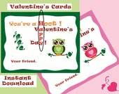 Kids Valentines day cards, green owl pink owl, downloadable DIY cards, Your a Hoot, instant download, unique design, last minute card