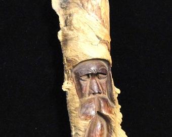 Carved Spirit of the Woods-- 1970's folk art, signed by artist