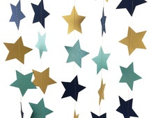 Teal and Gold and Navy Blue Star Garland - Navy and Gold Garland with Teal Blue Stars, Gold and Teal Party Decor - GS033MtgdTeNv