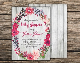 Floral pink baby shower invitation Boho baby shower invite Pink wreath invite Floral boho invite Pink floral invite Printable invitation