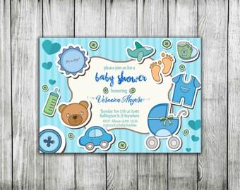 Baby shower invitation Boy Printable invitation Boy It's a boy shower invite Blue baby shower invite Baby boy  baby shower invitation Blue