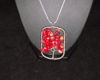 CLEARANCE *Red Coral Tree of Life Necklace-925 Sterling Chain 20""