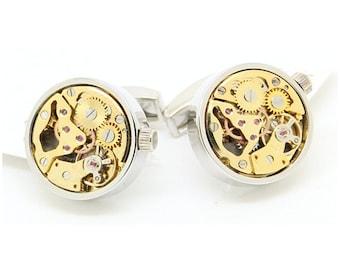 Watch Movement Steampunk Cufflinks Round Silver Gold (SP154)