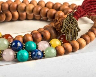 108 Mala Necklace, Sandalwood Mala, Chakra Mala, Yoga Necklace, Meditation Necklace, Wood Mala