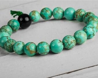 Turquoise Beaded Bracelet, Men Beaded Bracelet,  Men Yoga Bracelet, Turquoise Bracelet, Men Bracelet