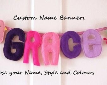 Woodland Name Banner, Felt Baby Sign, Girl Custom Garland, Nursery Decor, Child Kid Bedroom Wall Hanging, Felt Door Name, Personalised Gift