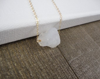 14k gold filled sterling silver rough raw crystal quartz bead necklace / bridesmaid necklace / dainty / minimalist / April birthstone
