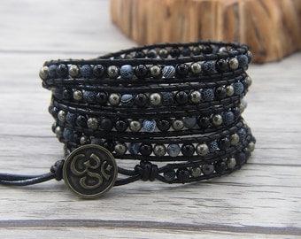 5 row wap bracelet pyrite beads bracelet navy beads bracelet black agate beads bracelet yoga bracelet boho beaded bracelet jewelry SL-0478